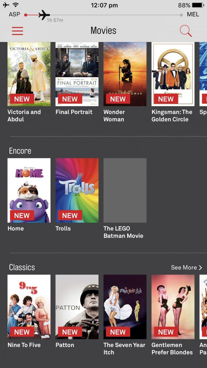 Qantas streaming app home page
