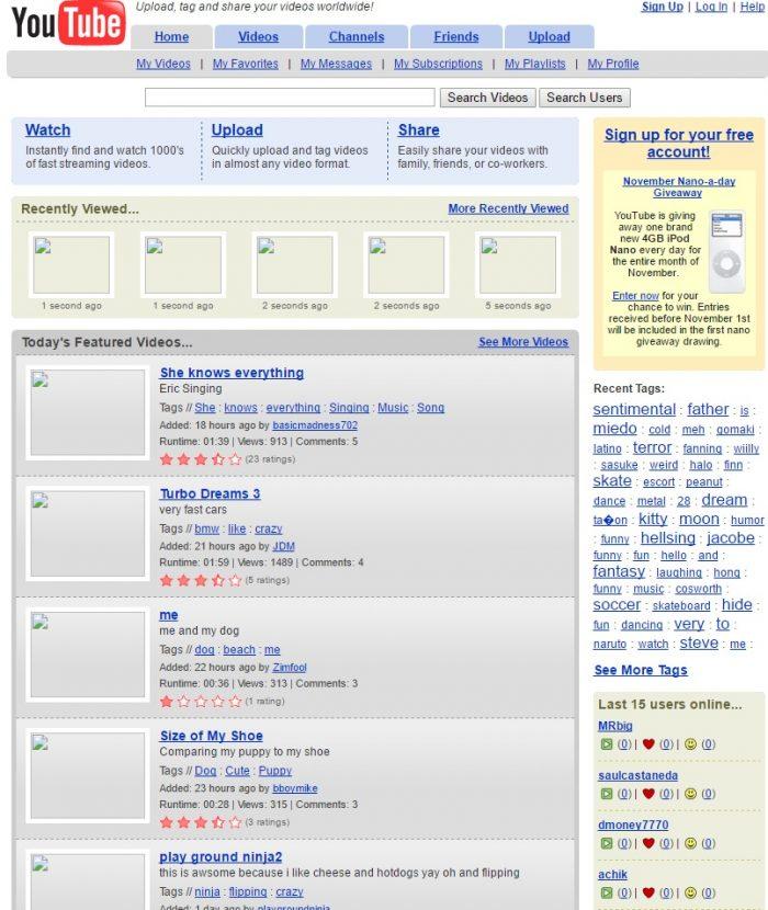 2005 YouTube website