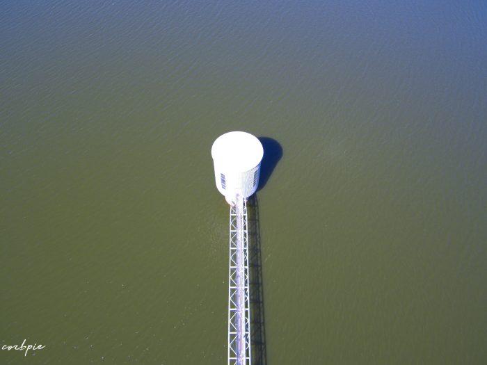 Lake Eppalock intake tower closeup