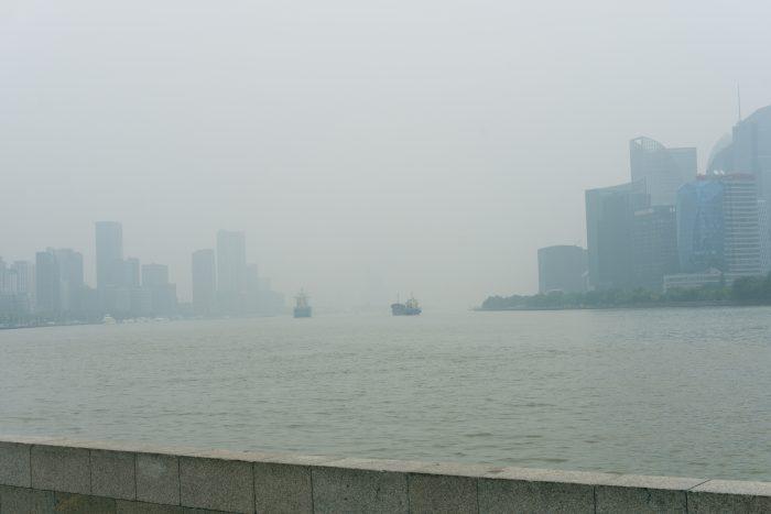 Boats in Shanghai smog