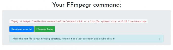 FFmpegr command creator
