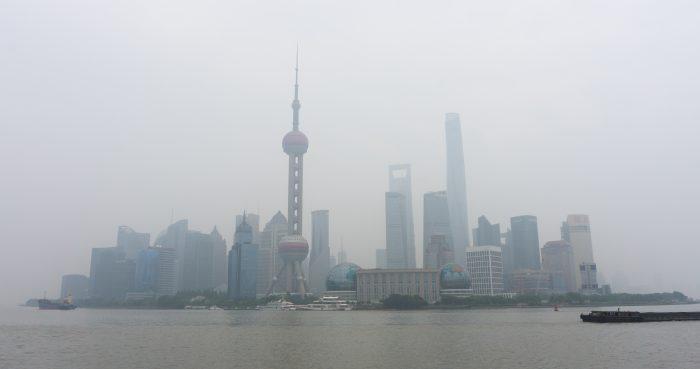 Shanghai skyline smog