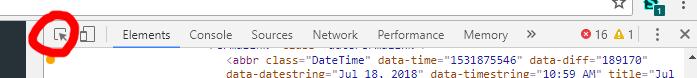 Chrome dev tools inspect element
