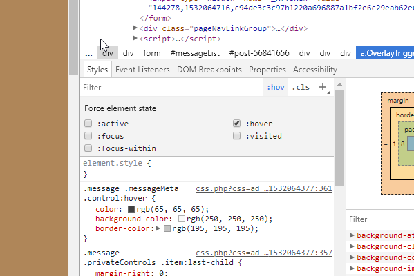 chrome dev tools inspect element hover state