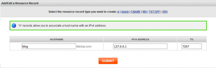 subdomain to ip address