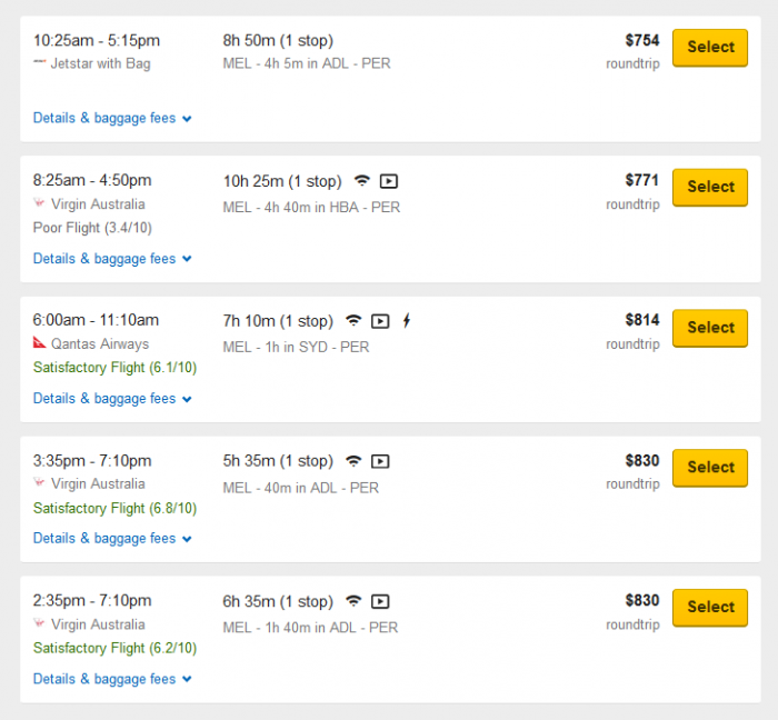 Melb to Perth flights rip off