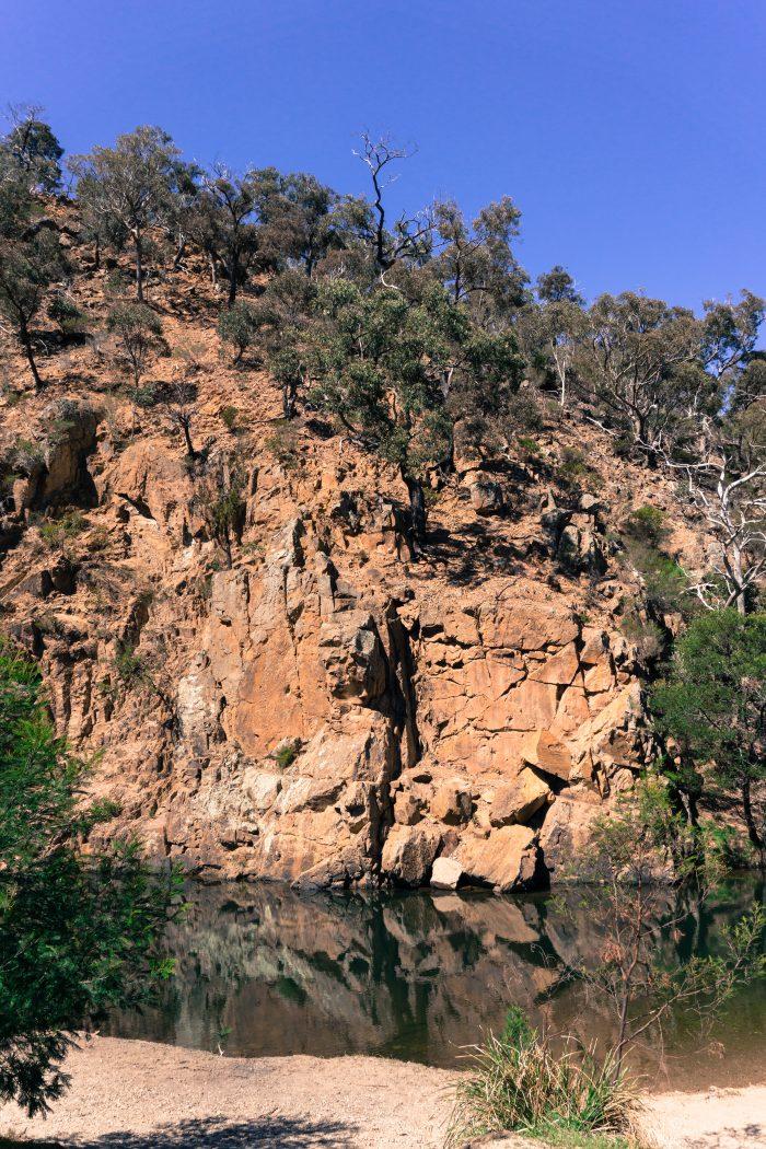 Grahams dam Lerderderg River overhang